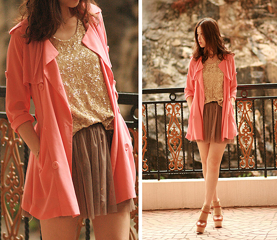 Sunset  - Coral chiffon trench, Weeken, Chunky mary jane, Weeken, Golden sequin vest, Weeken, Mayo Wo, Hong Kong