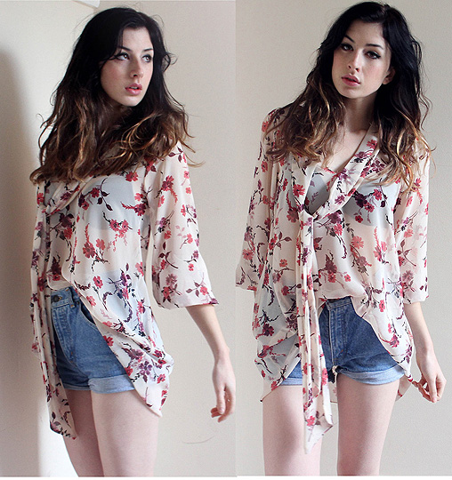 Under A Honeymoon  - Floral shirt/dress, Weeken, Vintage cut offs, Weeken, Constance Victoria, United States
