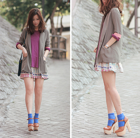 Hi bfj, long time no see  - Chunky mary jane, Weeken, Boyfriend blazer with pink sleeves, Weeken, Purple tee, UNIQLO, Bow print skirt, Weeken, Blue socks, H&M, Mayo Wo, Hong Kong