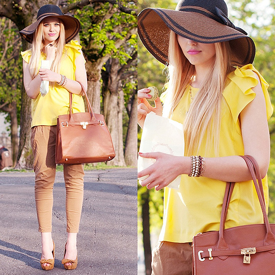 Capeline and Macarons - Bag, Weeken, Hat, Weeken, Golden yellow shirt, Weeken, Kristina Bazan, Switzerland