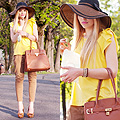 Capeline and Macarons, Bag, Weeken, Hat, Weeken, Golden yellow shirt, Weeken, Kristina Bazan, Switzerland