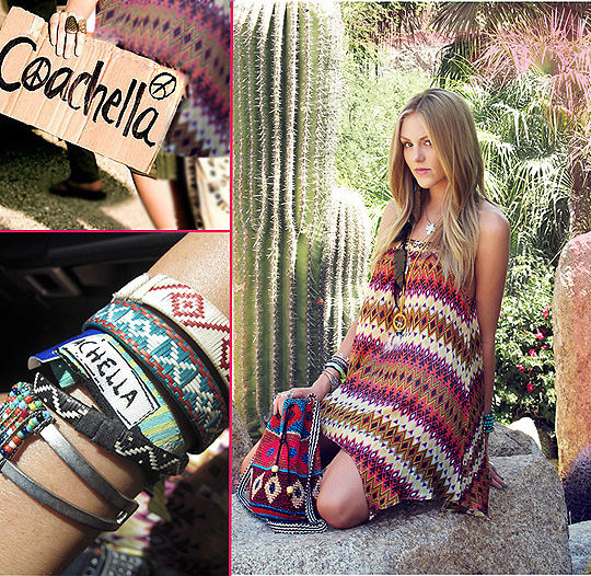 Bohemian princess at COACHELLA  - Dress, Weeken, Woven bag, Weeken, Bracelets, Weeken, Shea Marie, United States