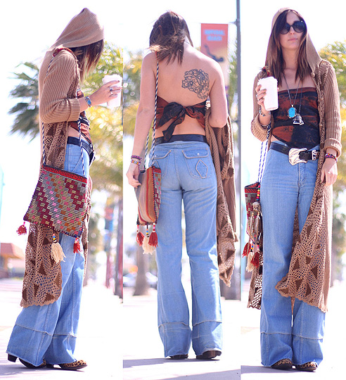 IMPERIAL BEACH / disarming darling  - Triangle hooded cardigan, Weeken, High waist bell bottoms, Weeken, BAG, Weeken, Silk scarf worn as top, Weeken, Belt, Weeken, Cheetah nation ankle boots, Weeken, BRIT N, United States