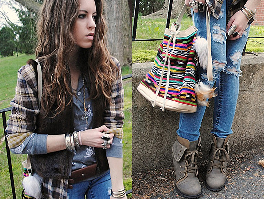 Outfit119  -  plaid shirt, Nine West, Leather pocket belt, Banana Republic, Ripped jeans, Weeken, Floral sweatshirt, Weeken, Lace-up booties,, Weeken, Lauren Schoonover, United States