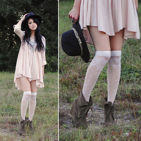 Sweet Disposition.  -  h&m billowy frock, H&M, Chain statement necklace, Weeken, Random hat, Weeken, Hue knee high socks, Weeken, Zara wedge ankle boots, Zara, Trang Huyen, United States