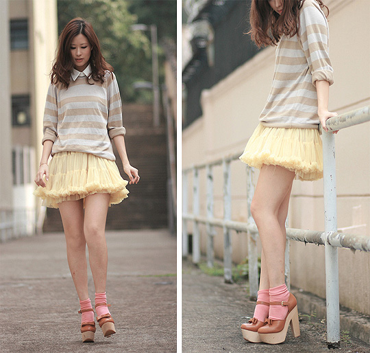 Salmon omelette  - Striped sweater, Quiksilver, Tutu, Weeken, Salmon socks, Weeken, Chunky mary jane, Weeken, Mayo Wo, Hong Kong