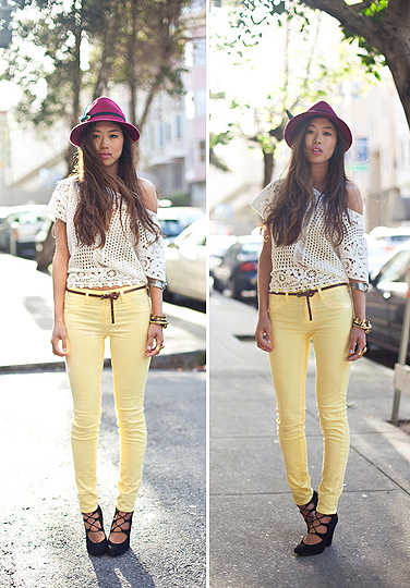 Miles of Sunshine  - Hat, Weeken, Blouses, H&M, Skinnies, J Brand , Weeken, Heels/wedges, Weeken, Aimee Song, United States