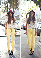 Miles of Sunshine , Hat, Weeken, Blouses, H&M, Skinnies, J Brand , Weeken, Heels/wedges, Weeken, Aimee Song, United States