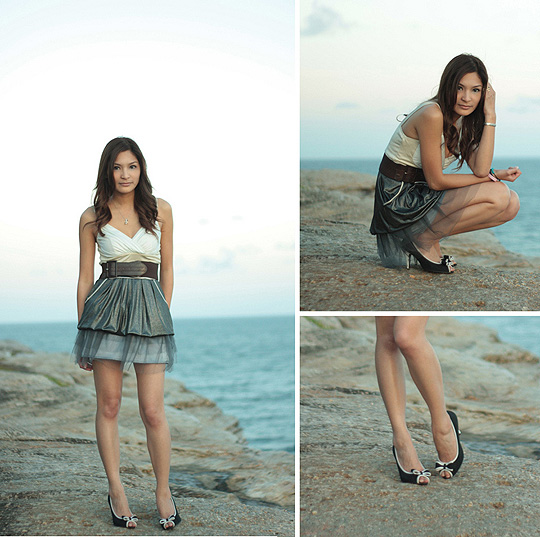 On the edge of Bondi Beach  - White and Metallic Grey Dress, Weeken, Silver Fairy Soft Mesh Skirt, Weeken, Waist Belt, Weeken, Black and White Peep Toe with Bow Heels, Weeken, Camille Sioco, Australia