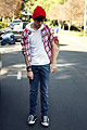 Strawberry avalanche , Plaid, Weeken, White hooded shirt, American Apparel, Red knit beanie, Weeken, Adam Gallagher, Canada