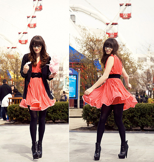 Violently Happy  - Pink dress, Weeken,  boots, ASOS,  blazer, H&M, Tights, Weeken, Rachel-Marie I, United States