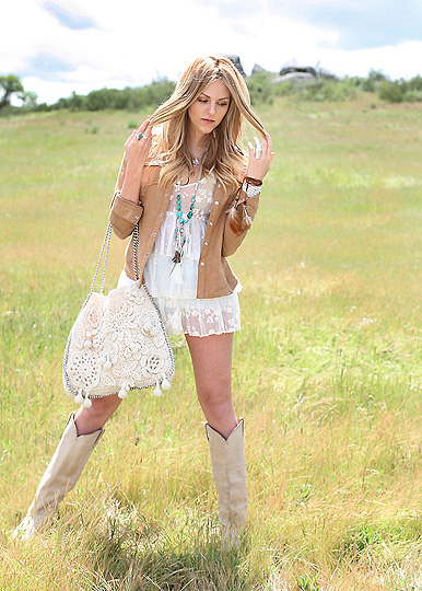 Phoenix rose  - Dress, Weeken,  necklace, Weeken, Feather bracelet, Weeken, Boots, Weeken, Crochet bag, Weeken, Jacket, H&M, Shea Marie, United States