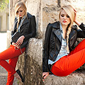 Tangerine pants - On Kayture blogspot , Pants, Zara, Leather Jacket, H&M, Denim Top, H&M, Bag, Weeken, Kristina Bazan, Switzerland
