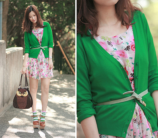 Wearing a garden  - Owl bag, Weeken, Pale green belt,, H&M, Striped socks, H&M, Chunky mary jane, Weeken, Chiffon floral dress, Weeken, Mayo Wo, Hong Kong