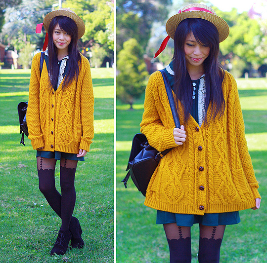 MEAN GREEN.. MUSTARD MACHINE  - Dress, Weeken, Hat, Weeken, Tights, Topshop, Wedges, ASOS, Bag, Weeken, Kani, Australia