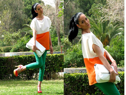Three colors, one love!  - Orange wedges, Gucci, White-orange blouse,, Zara, Konstantina Tzagaraki, Australia