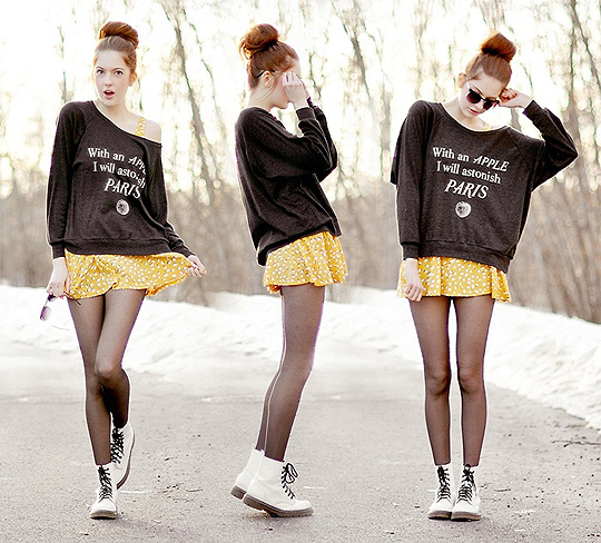 With an APPLE I will astonish PARIS  - Jumper, Weeken, Skirt, H&M, Glasses, Weeken, Ebba Zingmark, Sweden