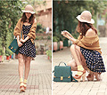 Warm weather, warm colors  - Chunky mary jane, Weeken, Nude hat, Weeken, Mustard cardigan, Weeken, Polka dots dress, Weeken, Skrit, Weeken, Teal bag, Weeken, Yellow socks, H&M, Mayo Wo, Hong Kong