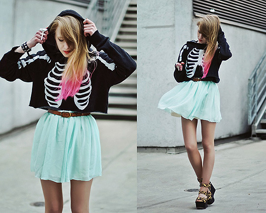 Pink hair  - Mint skirt - The Scarlet Room, Weeken, Hoodie - Wildfox, Weeken, Alice Mary, United Kingdom