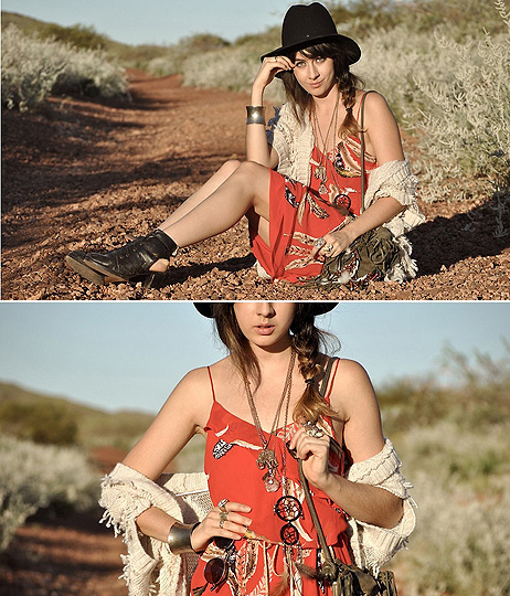 As sure as the sun  - Necklaces, Weeken,  glasses, Weeken, Fedora, Weeken, Shrug, Weeken, Red feather dress, Weeken, Cut out boots, Weeken, Bag, Weeken, Dreamcatcher, Weeken, Autilia Antonucci, Australia
