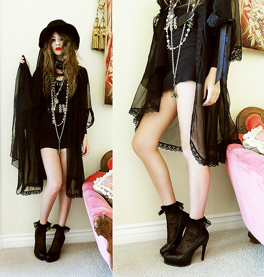 SHE IS THE NEW THING  - Veiled hat,, Weeken, Nighty shawl, Weeken,  Lace socks,, Weeken, Black pumps , Weeken, Bebe Zeva, United States