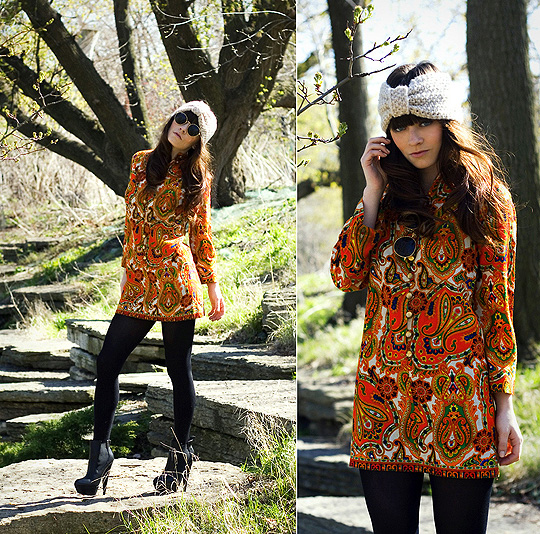 Psychic Swelling  - Oatmeal bow turban, ASOS, LEGWEAR , Weeken, Boots, ASOS, Vintage raybans, Weeken, Vintage paisley dress from the 60's, Weeken, Rachel-Marie I, United States