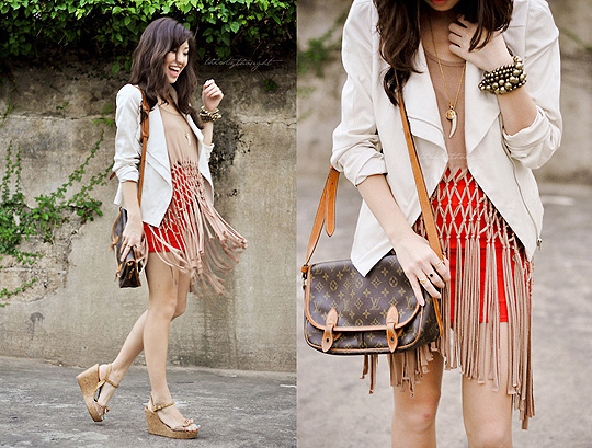 Let there be fringe!  - White Motorcycle Jacket, Forever21, Beige Macrame Top, Weeken, Red Bodycon skirt, Weeken, Messenger Bag, Louis Vuitton, Crochet Wedges, Weeken, Kryz Uy, Philippines
