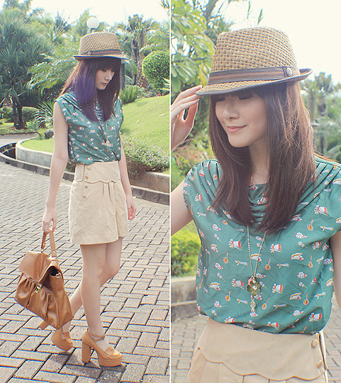 Down to Earth  - Hat, Weeken, Green blouses, Weeken, Dress, H&M, Shoes, D.Wolves, Bag, Weeken, Elle Yamada, Indonesia