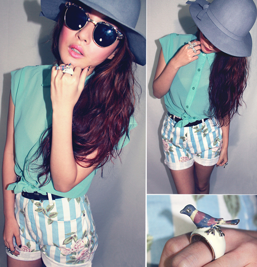 Little Birdie  - Vintage stripe shorts, Weeken, Mint Shirt, Weeken, Trixia S , Iceland
