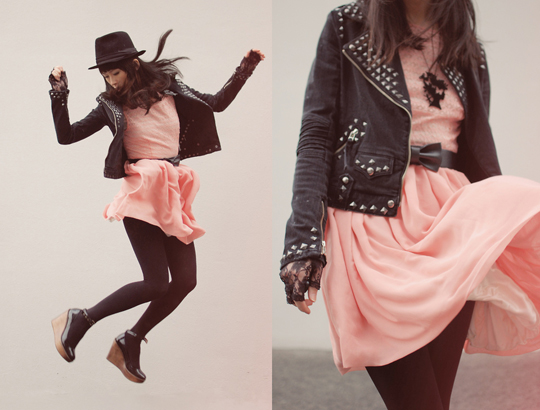A black bird in the pink wind  - Dress, American Apparel, Jacket, Weeken, Shan Shan, Japan