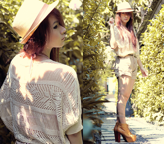 You're just like a shadow  - Shredded sweater, Weeken, Ripped shorts, Zara, Lita Boots, Weeken, Anastasia Siantar, Indonesia