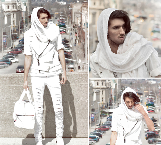 Rebir†h  -  White Spring Jacket, Weeken, Ripped White Jeans, Weeken, Crochet detailed dress shirt, Weeken, White scarf , Weeken, White duffle bag, H&M, White dress shoes, Weeken, Bobby Raffin, Canada