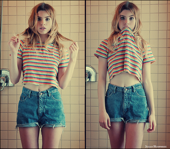 Childlike  - Striped crop top, Weeken, Shorts, Weeken, Lindsey Lugrin
