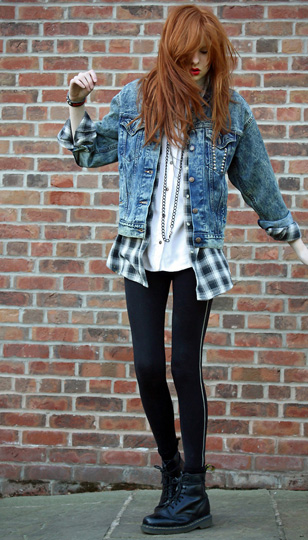 Boy clothes and double denim  - Levis denim jacket, Weeken, Flannel shirt, Weeken, Levis denim shirt, Weeken, Zipped leggings, Weeken, Olivia Harrison, United Kingdom