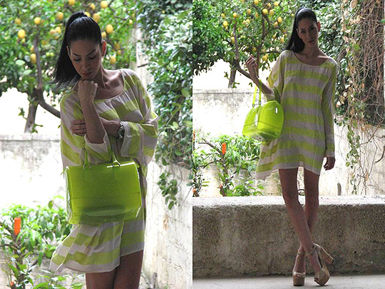 Think neon! Think stripes!  - Neon dress blouse, Weeken, Shoes, Weeken, Konstantina Tzagaraki, Australia