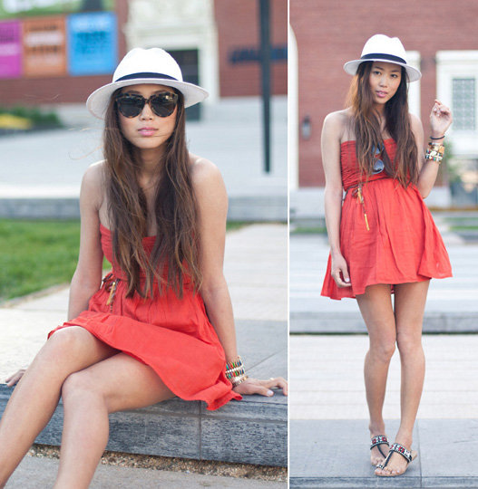 It's Warm Enough for a Strapless Dress  - Orange Dress, Zara, Panama Hat, Weeken, Aimee Song, United States