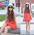 It's Warm Enough for a Strapless Dress , Orange Dress, Zara, Panama Hat, Weeken, Aimee Song, United States