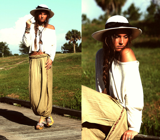 +*+*+*Desert Duds+*+*+*  - Trousers, Weeken, Hat, Weeken,  Wedges, Weeken, Samurai Bracelet, Marc Jacobs, Shirt, Weeken, Jana K, United States