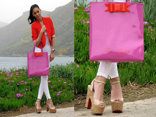 My dear Ted let's go for a walk!  - Vinyl bag, Weeken, Orange blazer, Zara, Konstantina Tzagaraki, Australia