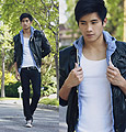 I may be holding your hand but I'm holding it loose , Denim Hoodie, Hollister, Leather Jacket, Weeken, Black Jeans, Weeken, SNEAKERS , Weeken, Peter Adrian, United States
