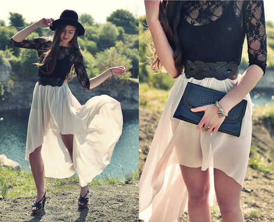 The wings are wide  - Chiffon skirt, Weeken, HATS , Weeken, BELTS, Weeken, Snake ring, Weeken, Lace dress, Weeken, Clutch, Weeken, Klaudia W, Poland