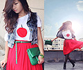 1000 of wishes for you japan  - Belts, H&M, Red buity dress, H&M, Bag, Weeken, Any Trinh, Japan