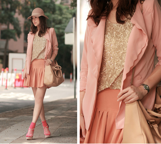 Carnations  - Scalloped blazer, Weeken, Sequined vest, Weeken, Hot pink socks, H&M, Nude hat, Weeken, Wedges, Weeken, Mayo Wo, Hong Kong