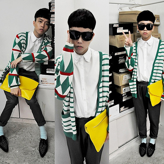 I fell in love with a yellow banana on the christmas tree. - Cardigan, Weeken, H&M inspired, H&M, Low crotch pants, Weeken, Double collar white shirt, Weeken, Pointed creepers, Weeken, Andy Ker, Singapore