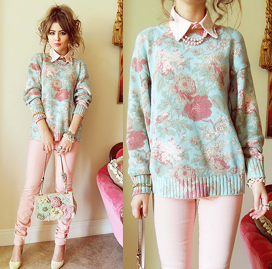 FLOWER POWER - Detachable collar, Weeken, Mint and rose sweater, Ralph Lauren, PINK PANTS, Joe, Pastel flower bag, Valentino, Cream pumps, Ralph Lauren, Bebe Zeva, United States