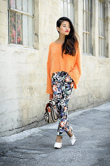 Casual Friday - Shaggy sweater, Weeken, Floral pants, Weeken, Joan pumps, Weeken, Olivia Lopez, United States