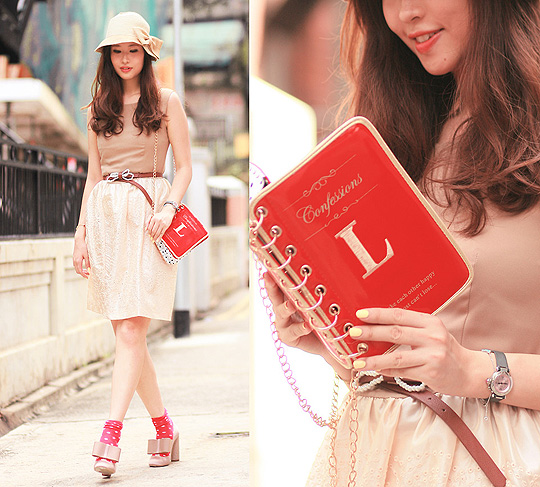 A book or a purse? - Embroidered dress, Weeken, Book purse, Weeken, Bow heels, Weeken, Mayo Wo, Hong Kong