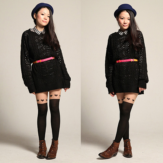 I heart you - Tights, Weeken, Hat, Monki, Shirt, Monki, Belt, H&M, Yuki Lo, Hong Kong