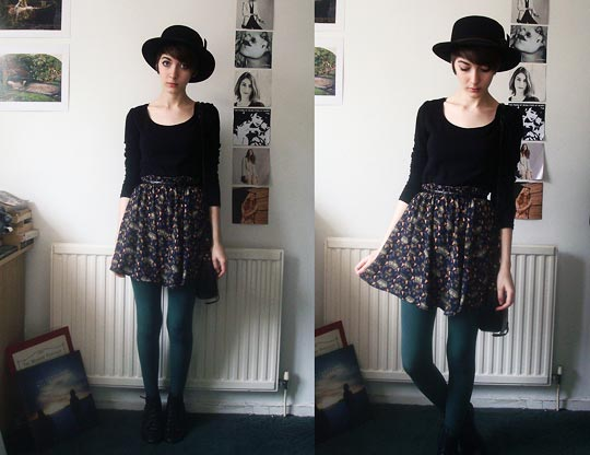 You Vs Everything - Black top, H&M, Hat, Weeken, Skirt, Weeken, Tights, Topshop, Ashleigh F, United Kingdom