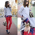 Red plaid shirt, Shirt, Weeken, Sweater, Zara, Jeans, Mango, Bag, Louis Vuitton, Shoes, Weeken, Sunglasses, Ray-Ban, Alexandra Per, Spain